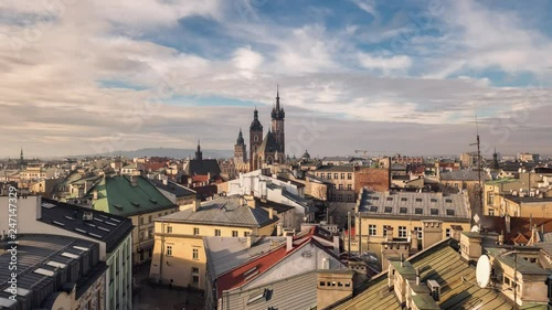 Time lapse of the sunset in Krakow, Poland. Top view of old city center