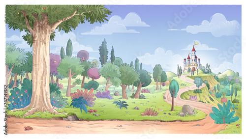 canvas print picture castillo en el bosque