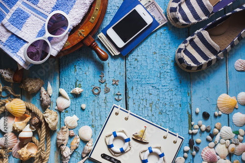 Foto Murales Background from different maritime decorations on the wooden background, top view