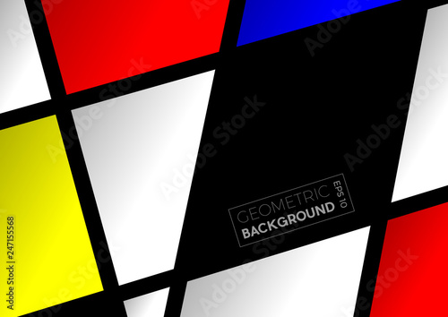 Geometric abstract  polygons with Mondrian colors, vector background © puckillustrations