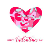 Happy Valentines Day background with pink paper cut  heart and c - 247156926