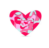 Pink and tiffany paper cut  heart . Holiday icon heart vector. - 247156935