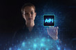 The concept of business, technology, the Internet and the network. A young entrepreneur working on a virtual screen of the future and sees the inscription: API - 247165117