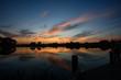 reflective sunset on the lake