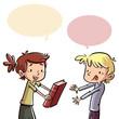 Leinwandbild Motiv niños regalando un libro