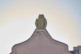 Owl statue on roof top copy space