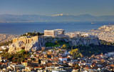Aerial view over Athens with te Acropolis and harbour from Lycabettus hill, Greece at sunrise - 247174589