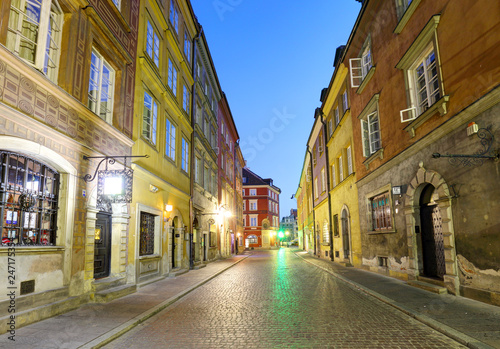 Warsaw street in city center at night, near market square and old town - 247175354
