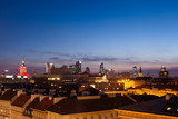 Warsaw Skyline at Dusk in Poland - 247179357
