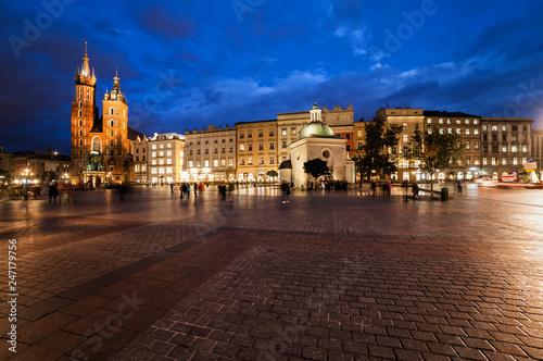 Krakow Main Market Square at Night
