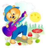 Illustration of cute little bear playing guitar in the forest. Cover for children book. Hand-drawn vector cartoon image.