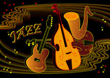 Advertising of Jazz concert on black background. Poster for musical performance. Modern print. Vector image.