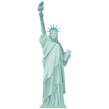 Graphic detailed drawing of the Statue of Liberty. Vector isolated on white background.