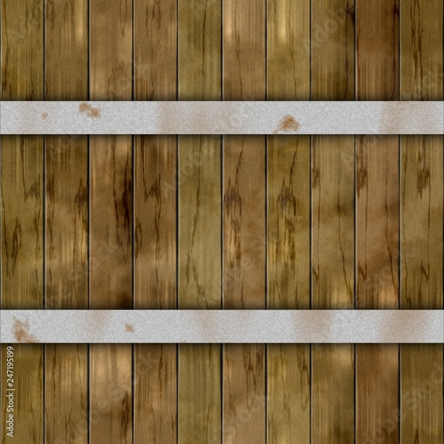 old wood plank barrel wood plank seamless pattern texture background with two silver rusty metal hoops - khaki brown color - 247195199