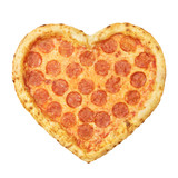 Pizza Pepperoni Heart shaped top view with mozzarella cheese, salami, template for your design and menu of restaurant, isolated white background. Valentine day pizza concept - 247202371