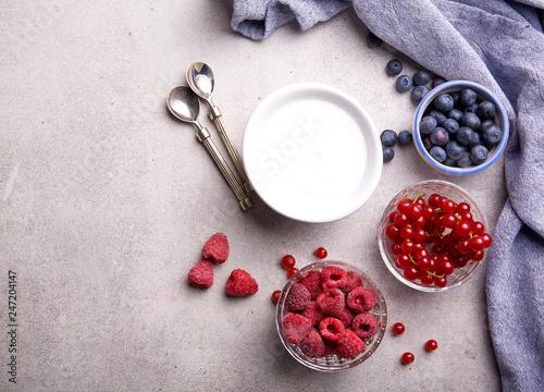 Foto Murales Delicious natural yogurt with fruit.