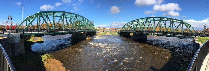 Panorama of twin bridges in Westfield, Massachusetts