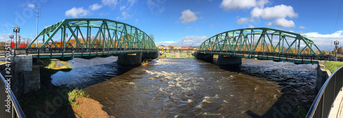 Panorama of twin bridges in Westfield, Massachusetts - 247207513