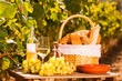 Leinwanddruck Bild - glass of white wine ripe grapes and picnic basket on table in vineyard