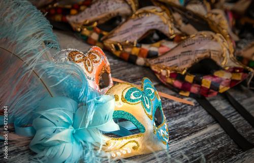 Beautiful and bright carnival Venetian masks close-up.