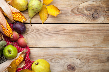 Vegetables And Fruits On Wooden Table