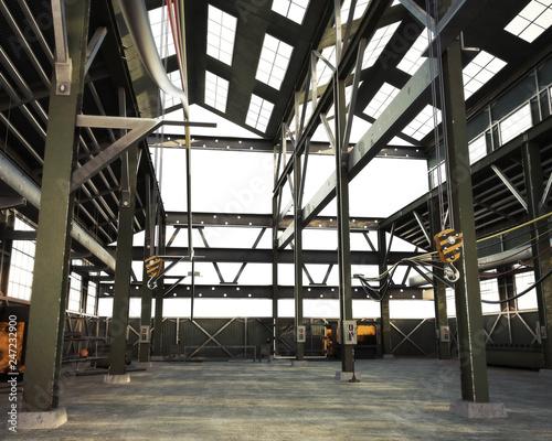Leinwandbild Motiv Large Interior grunge industrial warehouse with an empty open floor .3d rendering illustration