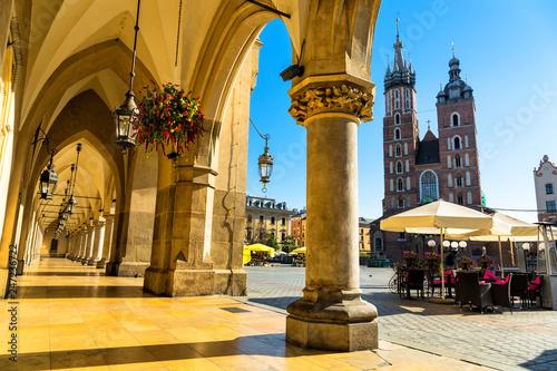 Cloth Hall and St. Mary's Basilica on main Market Square in Krakow, Poland