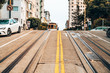 San Francisco, USA. July 18, 2018. Traditional classic cable car in San Francisco going up and down the hills. - 247243594