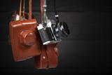 Group of vintage 35mm cameras. Collecting of antiques, auction theme - 247244310
