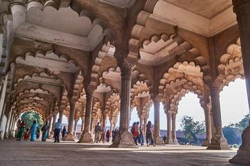 Beautiful columns and arches in Red fort in Agra, India