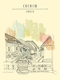 Cochin (Kochi), Kerala, India. Jew Road in Jew Town. Heritage colonial buildings. View of tiled roofs from a window with a plant. Travel sketch, book illustration