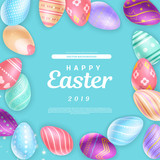 Cute Happy Easter 2019 inscription surrounded with amazing colored eggs - 247276706