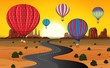 Travel by hot air balloon at desert