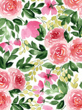 Watercolor background with tea roses. Colorful hand painted spring flowers