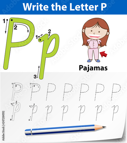 Letter P tracing alphabet worksheets
