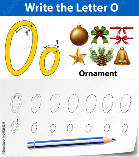 Letter O tracing alphabet worksheets