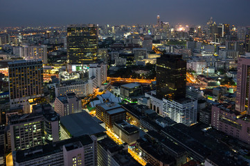 Top view of Bangkok on sunset