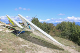 Hang gliders on the Chabre mountain, France - 247291142