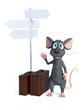 3D rendering of a cartoon mouse with travel suitcases. - 247294354