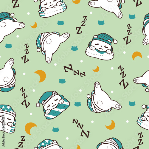 Sleeping Bear in Soft Green Background Seamless Pattern