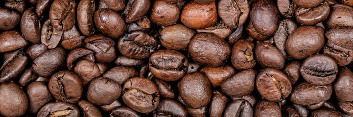 Coffee beans background texture panoramic banner. © Maridav