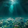 Leinwandbild Motiv Sea bed underwater with plastic bags. Environment pollution ecological problem.