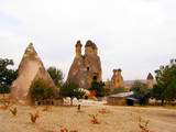 Rock formations and caves in Love Valley of Cappadocia.