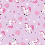 Beautiful seamless unicorn pattern. Textile graphic t-shirt print. Hand drawn unicorns background. Vector illustration.