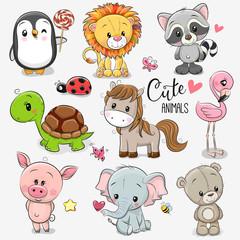 Set of Cartoon Animals on white background