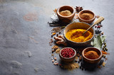 Spices on black board - 247302326