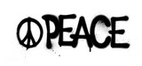 graffiti peace word and symbol sprayed in black