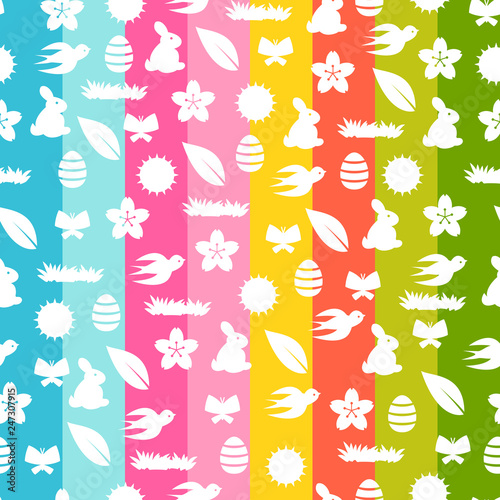 Happy Easter seamless pattern with holiday items. - 247307915