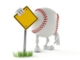 Baseball character with blank road sign