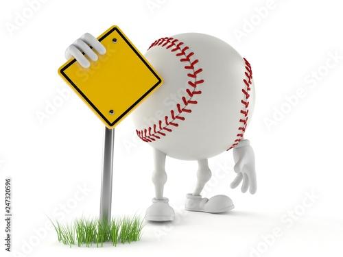 Leinwandbild Motiv Baseball character with blank road sign